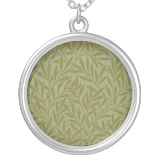 Vintage Willow William Morris Wallpaper Design Silver Plated Necklace