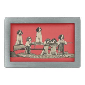 Vintage Winchester Firearm Dog Puppies Belt Buckle