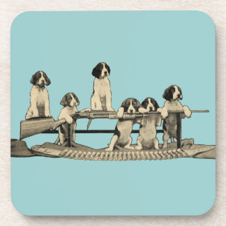 Vintage Winchester Firearm Dog Puppy Drink Coaster