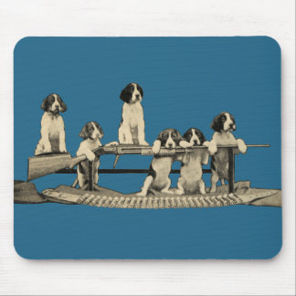 Vintage Winchester Firearms Dog Puppies Mousepad