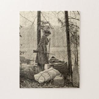 Vintage Winchester Rifle Sportswoman Nature Puzzle