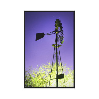 Vintage Windmill at Night Canvas Print