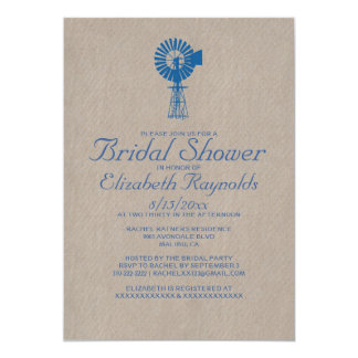 Vintage Windmill Bridal Shower Invitations