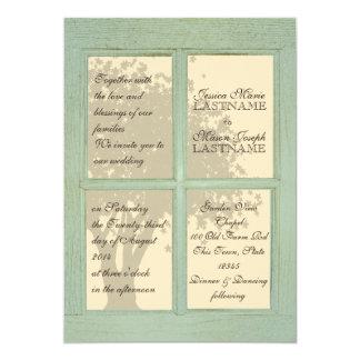 Vintage Window Pane Country Wedding Card