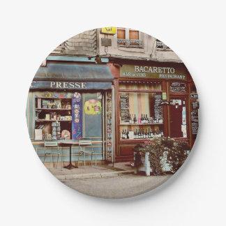Vintage wine bar & restaurant in France Paper Plate