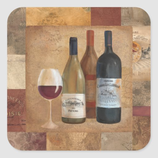 Vintage Wine Bottles and Wine Glass Square Stickers