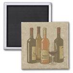 Vintage Wine Bottles Kitchen Magnet