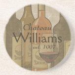 Vintage Wine Bottles Personalized Coaster