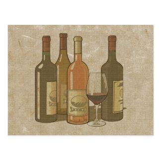 Vintage Wine Bottles Recipe Card Postcard