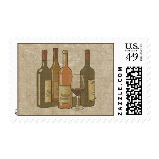 Vintage Wine Bottles Stamp