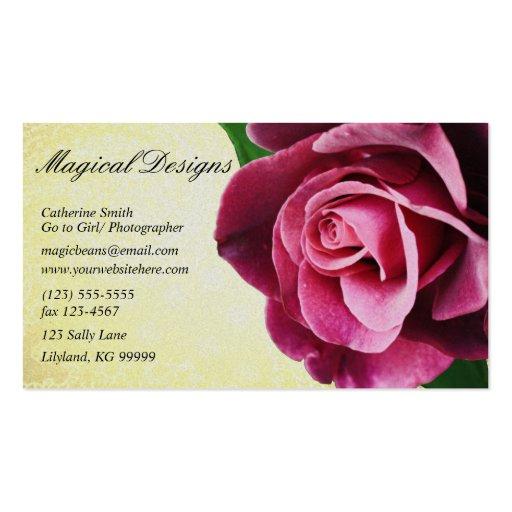 Vintage Wine Colored Rose Profile Business Card
