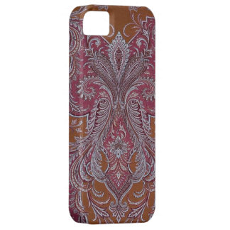 Vintage Wine Copper Damask iphone 5 cover