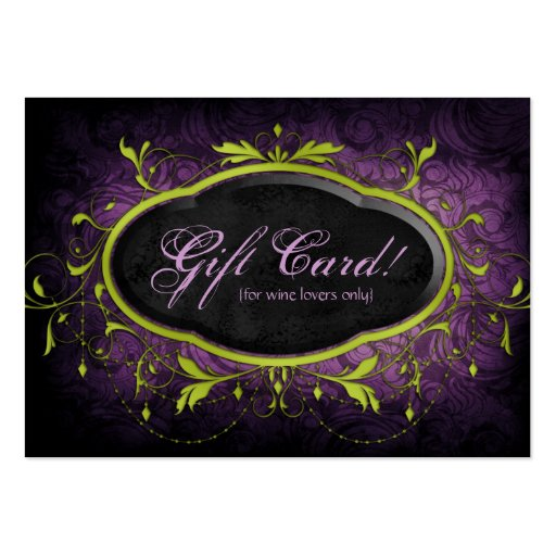 Vintage Wine Gift Card Certificate Leaves Lime Pur Business Card Template