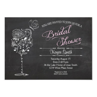 "Vintage Wine Glass Bridal Shower INvitation 5"" X 7"" Invitation Card"
