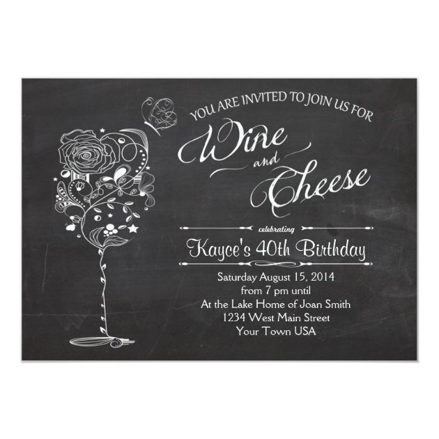 vintage wine glass & cheese birthday invitation | zazzle, Party invitations