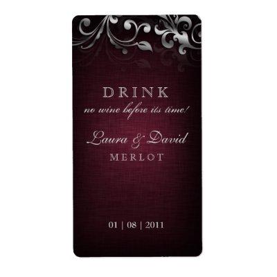 Linen Burgundy Red Silver