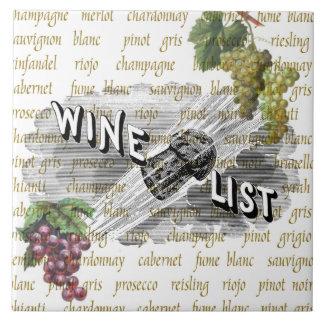 Vintage Wine List Grapes Trivet Tile