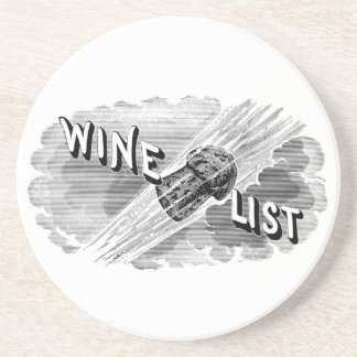 Vintage Wine List Sandstone Drink Coaster