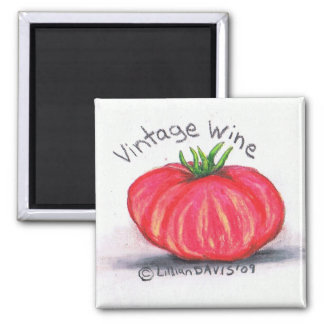 vintage wine 2 inch square magnet