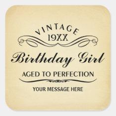 Vintage Wine Person Funny Birthday Sticker at Zazzle