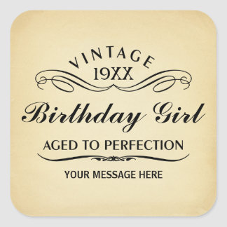 Vintage Wine Person Funny Birthday Sticker