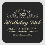 """Vintage Wine Person Funny Black Birthday Sticker<br><div class=""""desc"""">Vintage 1944 1945 1946 1947 1948 1949 1950 1951 1952 1953 1954 1955 1956 1957 1958 1959 1960 1961 1962 1963 1964 1965 1966 1967 1968 1969 1970 1971 1972 1973 1974 1975 1976 1977 1978 1979 1980 1981 1982 1983 1984 Aged to Perfection. Funny 30th 31st 32nd 33rd 34th...</div>"""