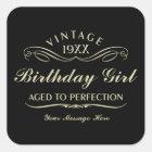 Vintage Wine Person Funny Black Birthday Sticker