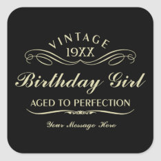 Vintage Wine Person Funny Black Birthday Sticker at Zazzle