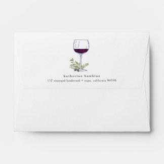 Vintage Wine   Return Address A6 Envelope