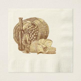 Vintage, Wine, Vinyard, Beautiful, Custom Paper Napkin