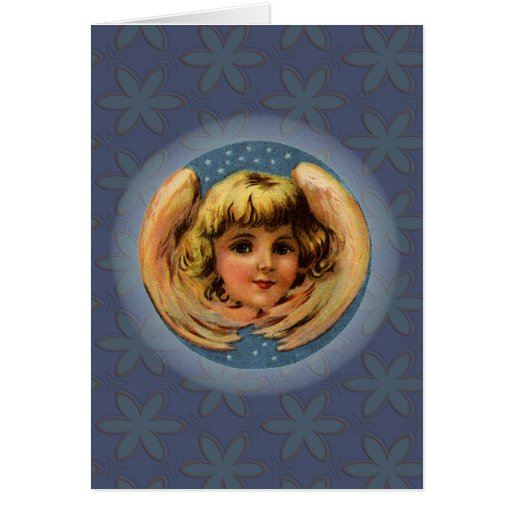 Vintage Winged Angel With Stars and Glowing Halo Card