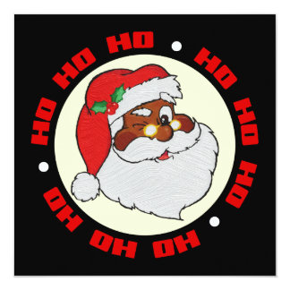 Vintage Winking Black Santa Pop Art Flat Card
