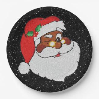 Vintage Winking Black Santa Pop Art Paper Plate