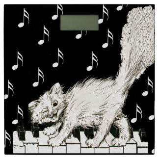 Vintage Winking Cat on Piano With Music Notes Bathroom Scale. Music Bathroom Scales   Zazzle