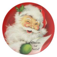 Vintage Winking Jolly Santa Claus Cookies -Plate
