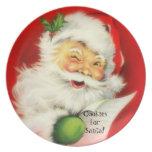 Vintage Winking Jolly Santa Claus Cookies -Plate Melamine Plate
