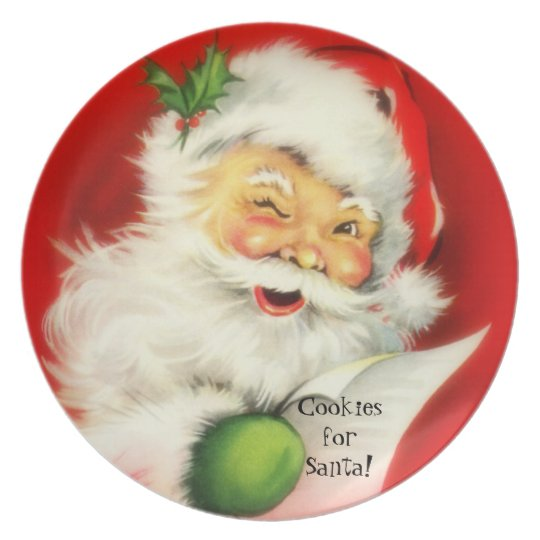 personalized video from santa vintage winking jolly santa claus cookies plate melamine 7312