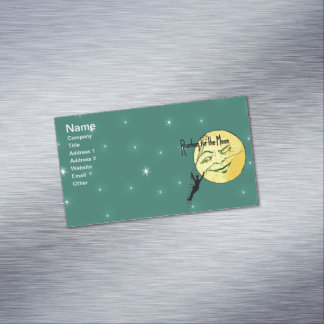 Vintage Winking Moon Man Ladder Reach for Moon Business Card Magnet