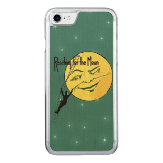 Vintage Winking Moon Man Ladder Reach for Moon Carved iPhone 7 Case