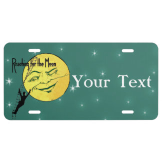Vintage Winking Moon Man Ladder Reach for Moon License Plate