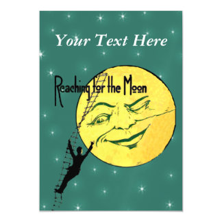 Vintage Winking Moon Man Ladder Reach for Moon Magnetic Card