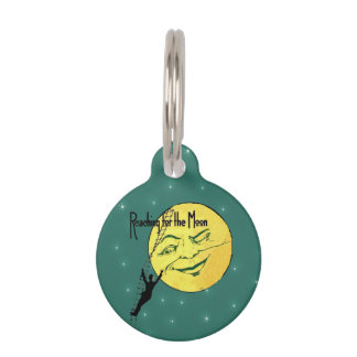 Vintage Winking Moon Man Ladder Reach for Moon Pet ID Tag