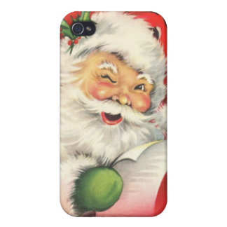 Vintage Winking Santa Claus iPhone 4 Cases For iPhone 4