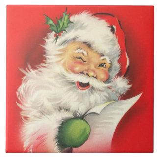 Vintage Winking Santa Claus Tile