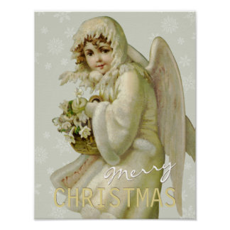 Vintage winter angel CC0620 Christmas Poster