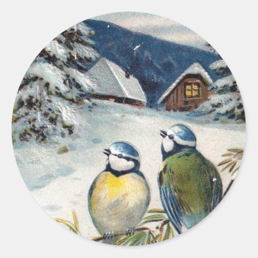 Vintage Winter Birds Classic Round Sticker