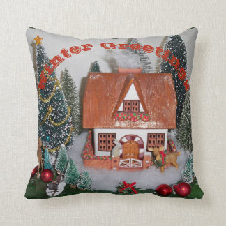 Vintage Winter Cabin Christmas Scene Pillow Rabbit