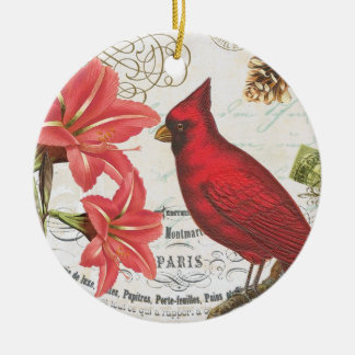vintage winter cardinal ceramic ornament