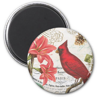 vintage winter cardinal magnets