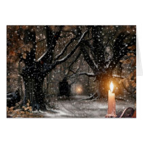 Vintage Winter Christmas Candle Card